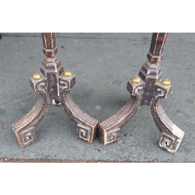 Handsome grey and gilt carved wood candle stands with very nice patina and distressing. Purchased in france, very...
