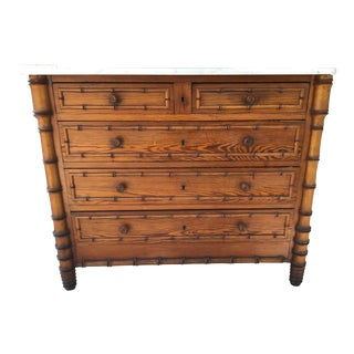 19th C Faux Bamboo Marble Top Chest of Drawers For Sale