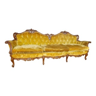 Vintage Hollywood Regency Gold Velvet Sofa - Antique French Provincial Carved Wood Yellow Velvet Couch