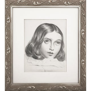 19th C Portrait Drawing of a Young French Girl For Sale