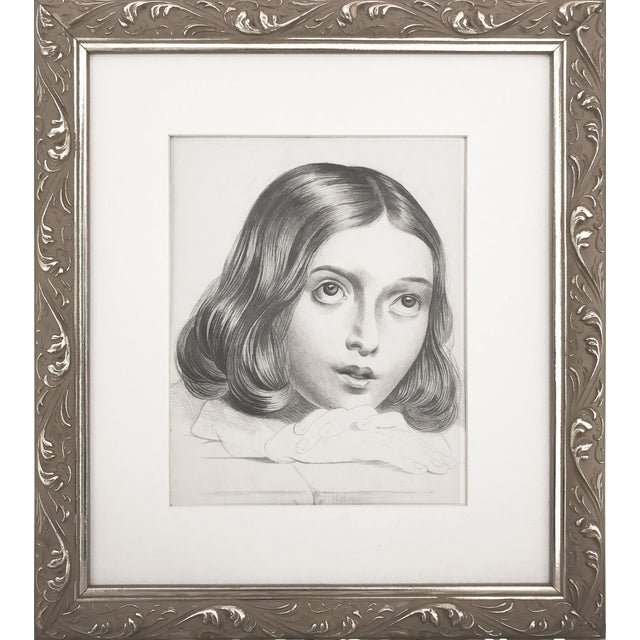 19th C Portrait Drawing of a Young French Girl - Image 1 of 4