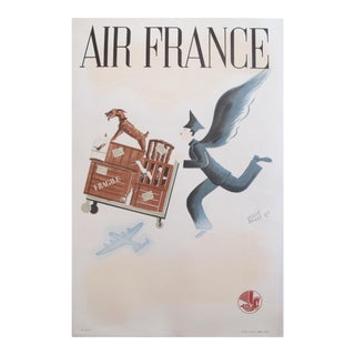 1947 Vintage French Air France Travel Poster, Herve Baille