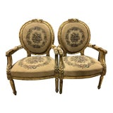 Image of 19th Century Carved French Louis XVI Fauteuil Arm Chairs - a Pair For Sale