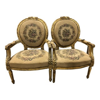 19th Century Carved French Louis XVI Fauteuil Arm Chairs - a Pair For Sale