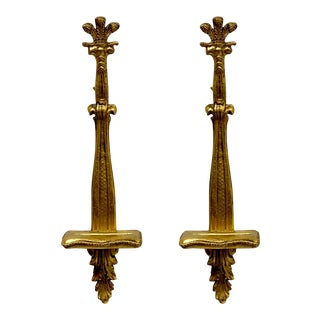 Pair of Decorative Crafts Gilded Plate Holders For Sale