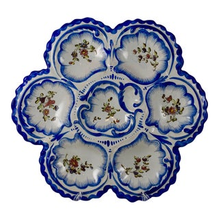19th C. Angoulême French Faïence , Alfred Renoleau Oyster Plate, B. For Sale