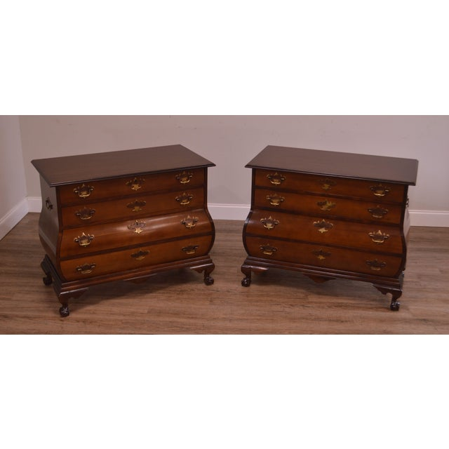 High Quality Pair of Custom Mahogany Chests with Warm Maple Drawer Fronts, Brass Hardware and Ball & Claw Feet