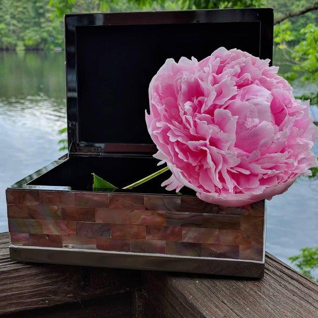 Hollywood Regency Jonathan Adler Inspired Polish Gun Metal & Abalone Shell Box For Sale - Image 3 of 12