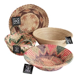 Collection of Colorful, Flat Weave Baskets- Set of 4 For Sale