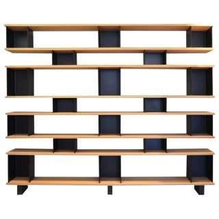 "Design Frères ""Horizontal"" Matte Black Steel and Oak Bookcase For Sale"