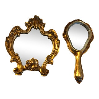 Early 20th Century Art Deco Gilt Wood Vanity Mirror Set - a Pair For Sale