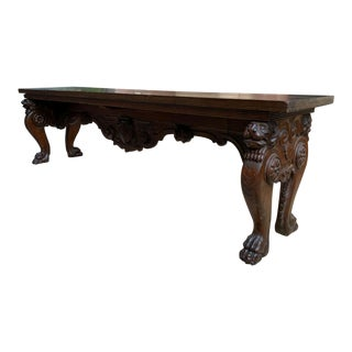 1900s Antique Italian Carved Walnut Renaissance Revival Bench Ottoman For Sale