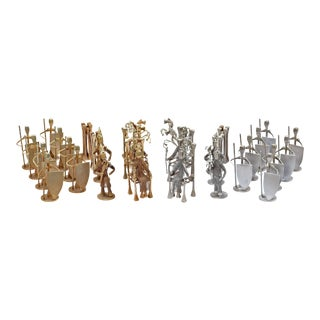 Brutalist Style Handcrafted Steel Nail Silver and Bronze Chess Set For Sale