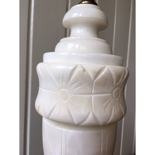 Neoclassical Revival Vintage Alabaster Marble Lamp For Sale - Image 3 of 10