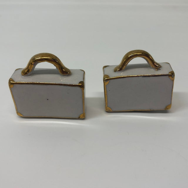 """Pair of White and Gold Bisque Porcelain Trendy Handbags Salt & Pepper Shakers. Size: 1.5"""" x 1.5"""" x .5"""""""