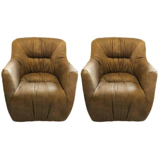 Pair of Hollywood Regency Style Leather Tufted Arm / Club Chairs in Putty Color For Sale