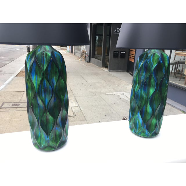 Incredible pair of unique and tall ceramic mid-century table lamps with brilliant iridescent blue and green glaze - see...
