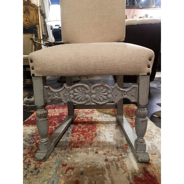1910s 1910s French Grey Distressed Painted Chairs - a Pair For Sale - Image 5 of 13