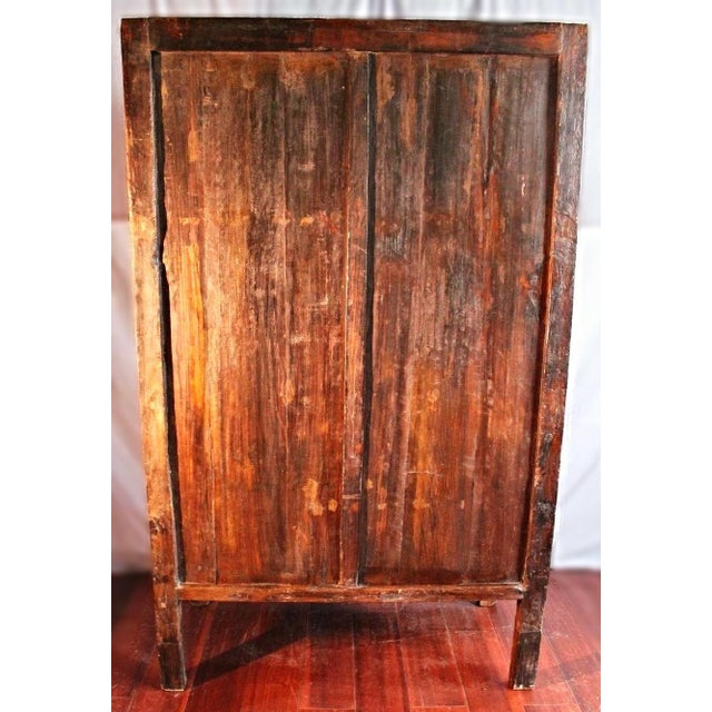 Metal Early Chinese Armoire Lacquer Cabinet For Sale - Image 7 of 9