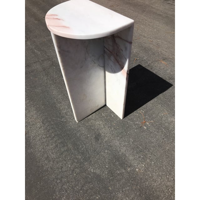 Contemporary 1970's Vintage Solid Marble Side Table For Sale - Image 3 of 12