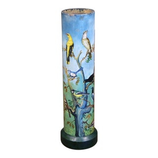 Mid-19th Century French Hand Painted Concrete Pot With Bird Motifs For Sale