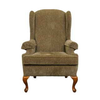 Charles Schneider Queen Anne Rustic Green Wing Back Arm Chair For Sale