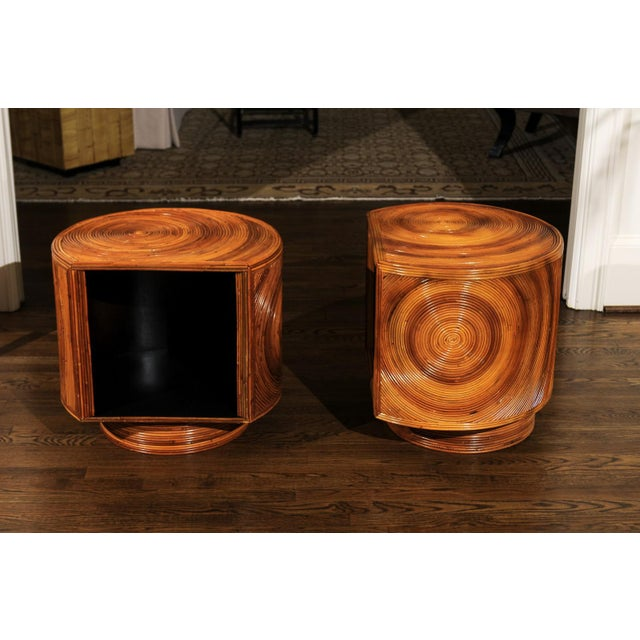 Tan Chic Restored Pair of Swivel Bamboo and Black Lacquer End Tables, Circa 1975 For Sale - Image 8 of 13