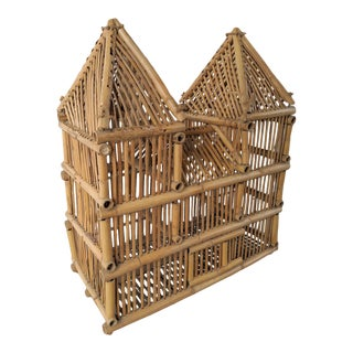 Bird Cage, 3 Story - Twin Tower - Mansion Styled Bamboo Cage, Vintage For Sale