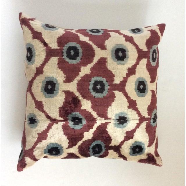 Maroon Silk Velvet Ikat Pillow - Image 2 of 4