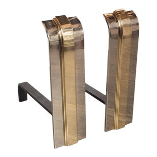 1920s Art Deco Style Polished Brass and Nickel Skyscraper Andirons - a Pair For Sale
