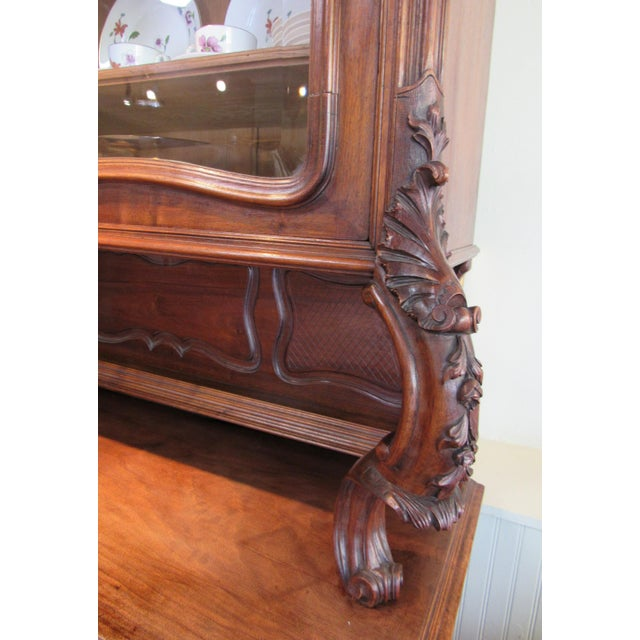 1900 French Walnut China Cabinet For Sale - Image 9 of 13