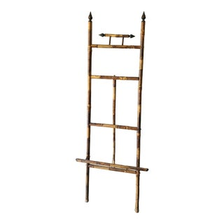 Antique English Bamboo Tortoise Shell Painted Easel For Sale