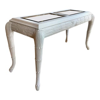Serge Roche Style Plaster White Palm Carved Console Table For Sale