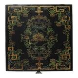 Image of Chinese Distressed Black Lacquer Treasure Symbol Graphic Square Box For Sale