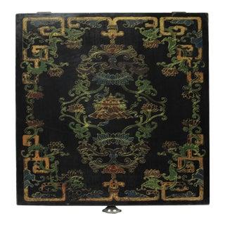 Chinese Distressed Black Lacquer Treasure Symbol Graphic Square Box For Sale