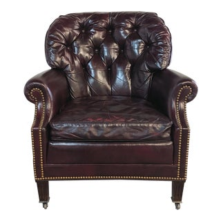 Vintage Red Leather Chesterfield Club Chair For Sale