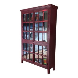 1990s Country Crate and Barrel Tall Red Display Cabinet For Sale