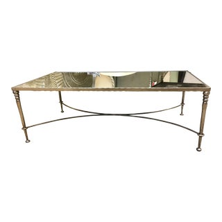 Hollywood Regency Orleans Rectangular Mirrored Cocktail Table For Sale