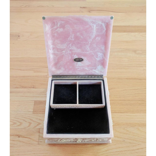 "A pretty Incolay stone composite jewelry box and tray in the ""Marie Antoinette"" pattern. It is light pink with rococo..."