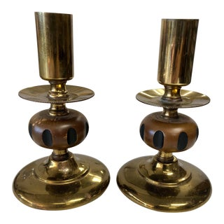 Vintage Brass and Wood Candlesticks - a Pair For Sale