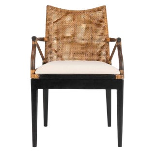 Modern Rattan and Wicker Arm Chair For Sale