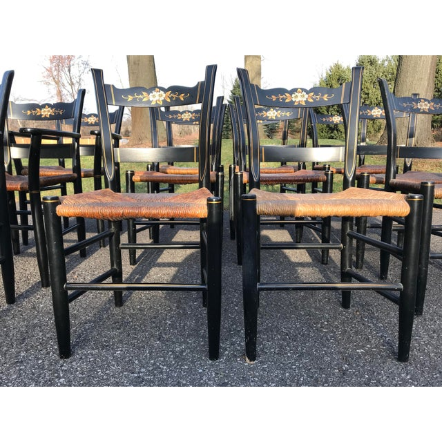 Vintage Black and Caned Hitchcock Chairs - Set of 12 For Sale - Image 6 of 11
