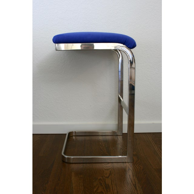 Milo Baughman Blue Faux Suede and Silver Cantilever Barstools - A Pair For Sale - Image 4 of 7