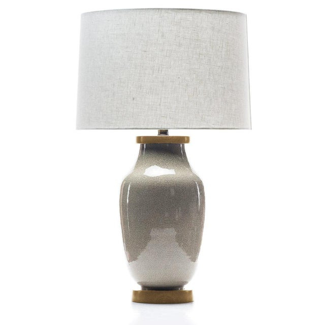 Contemporary Lawrence & Scott Lagom Porcelain Lamp in Oyster Gray Crackle With White Oak Base For Sale - Image 3 of 3