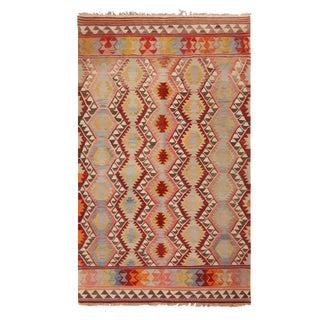 "1930's Vintage Fathiye Pastel Wool Kilim Rug-5'1'x8'7"" For Sale"