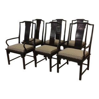 Century Chin Hua Black Lacquer Dining Chairs - Set of 6