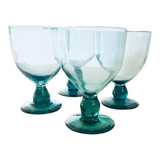 Vintage Turquoise Blown Glass Stemware Glasses - Set of 4 For Sale