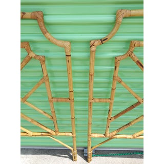 1960s Chippendale Design Burnt Bamboo Palm Beach Style Twin Headboards - a Pair Preview