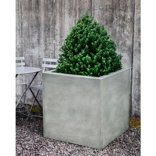A cube planter made of Glass Fiber Reinforced Concrete (GFRC). Available in three sizes. This listing is for the planter...