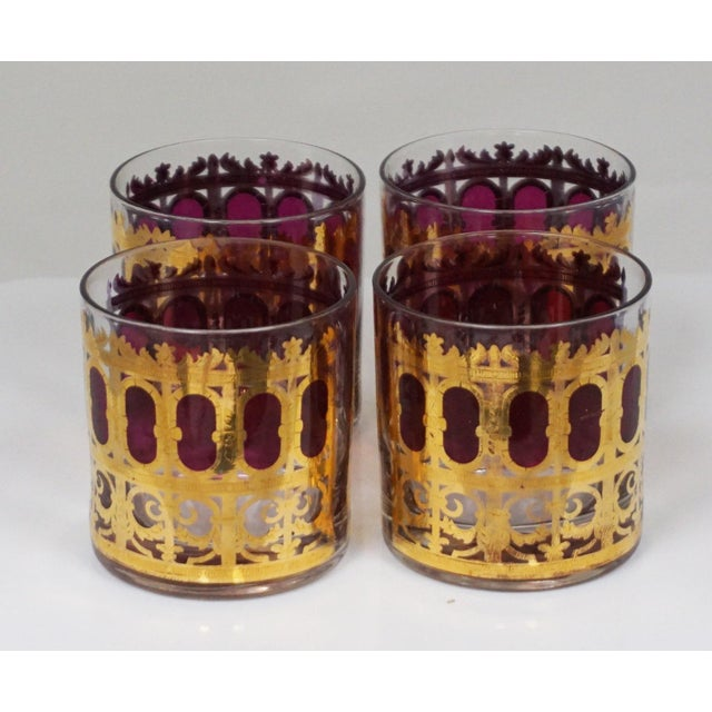 "Culver Ltd. Culver Hollywood Regency ""Cranberry Scroll"" Cocktail Glasses For Sale - Image 4 of 5"